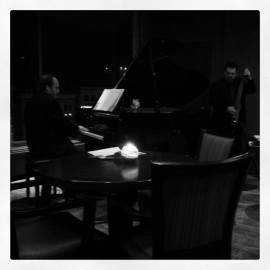 Enjoying some live jazz after my presentation.